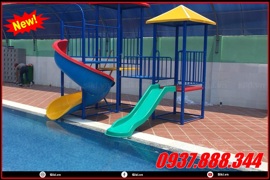 Cầu trượt hồ bơi và một số tiện ích tại công ty đồ chơi trẻ em Vân Anh