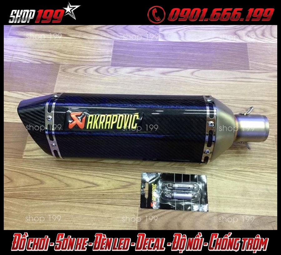 Pô Akrapovic màu carbon độ xe Yamaha TFX