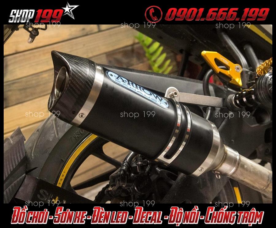 Hình ảnh pô Arrow lon dài màu đen độ đẹp và ngầu cho xe Yamaha TFX 150i